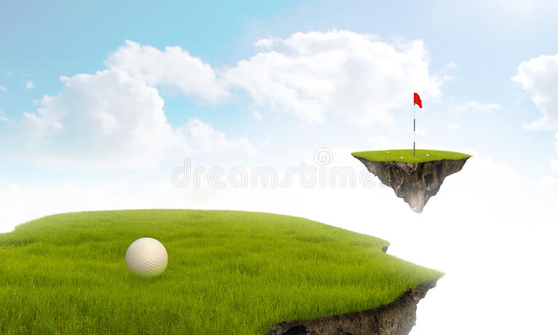 Suspended Golf. Suspended in the sky golf meadow with hole in green royalty free illustration