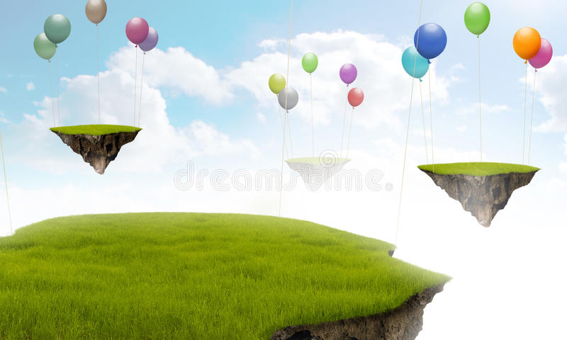 Suspended Land. With air balloon in the sky royalty free illustration