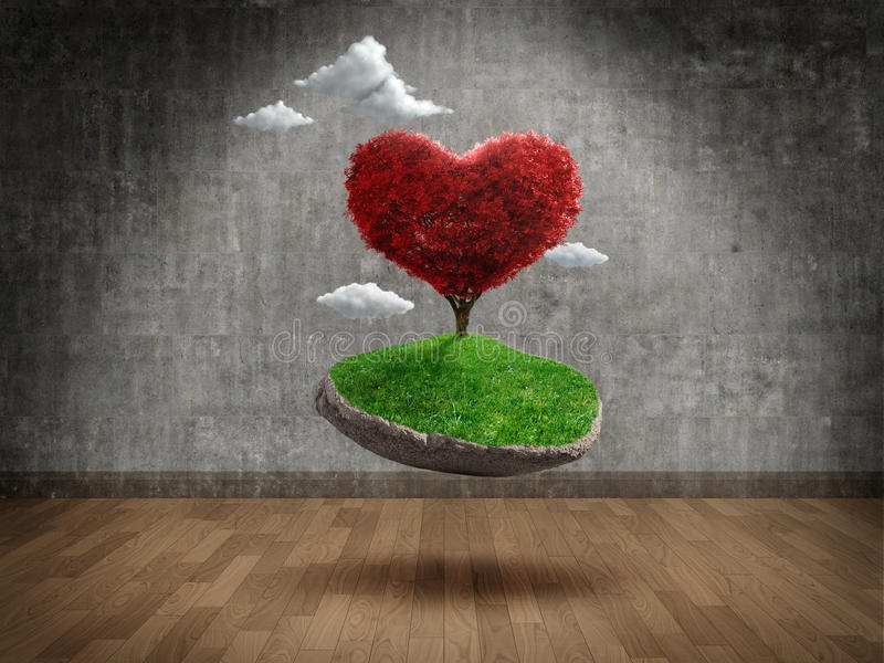 Suspended love. Suspended heart shape tree in Empty room royalty free illustration