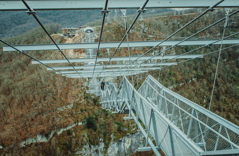 Suspended metal bridge in Sochi. Sochi, Russia - January 2017: SKYPARK Hey Jay Hackett Sochi is located in Sochi national Park. The longest pedestrian stock photo