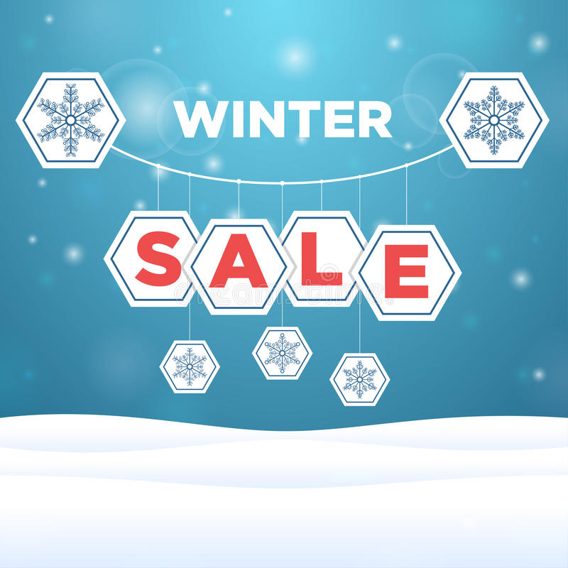 Suspended origami paper with the inscription sale and snowflake. Outside vector illustration