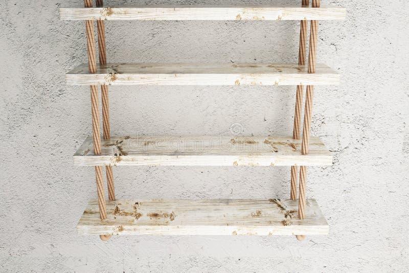 Suspended shelves old. Suspended wooden shelves on old concrete wall. Mock up, 3D Rendering stock illustration