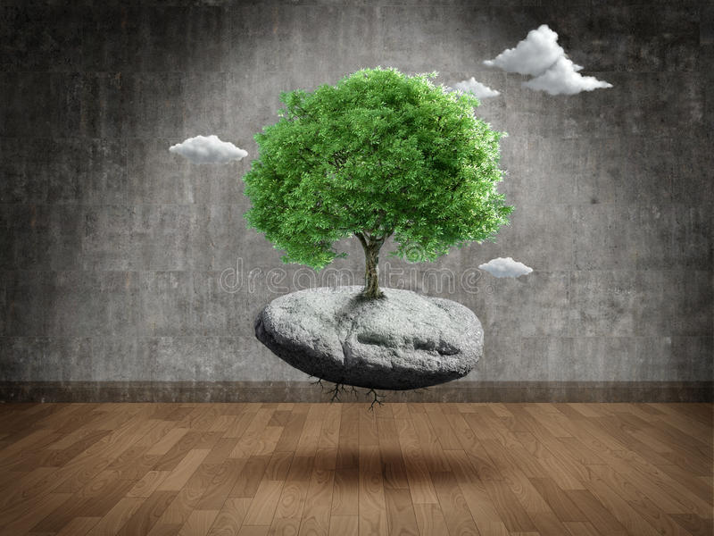 Suspended tree. On rock in Empty room stock illustration