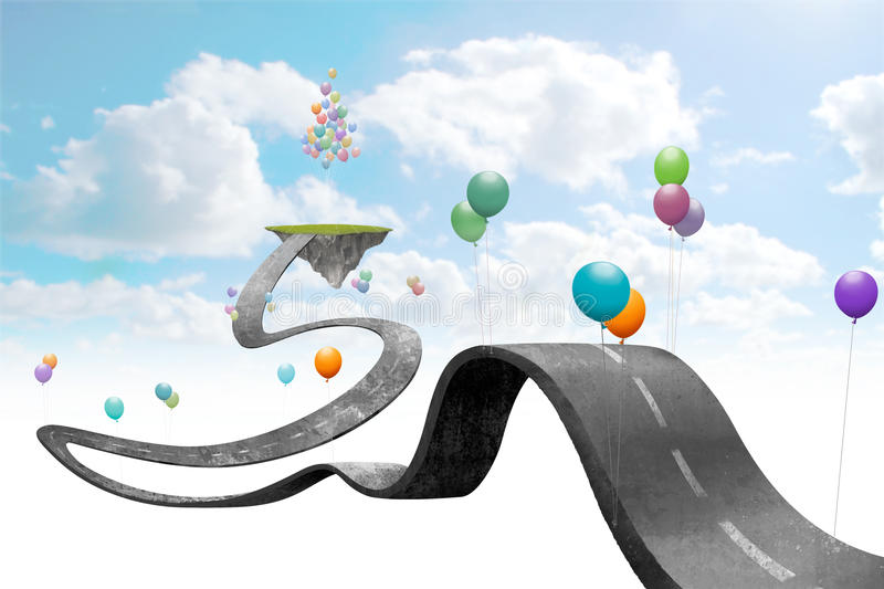 Suspended world. Balloons hold suspended in sky the road vector illustration