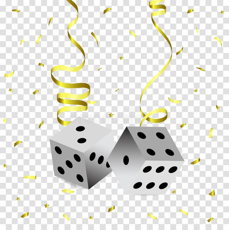 Suspendido em um dado do pôquer da serpentina do ouro, serpentina dourada de voo em um fundo transparente ilustração royalty free
