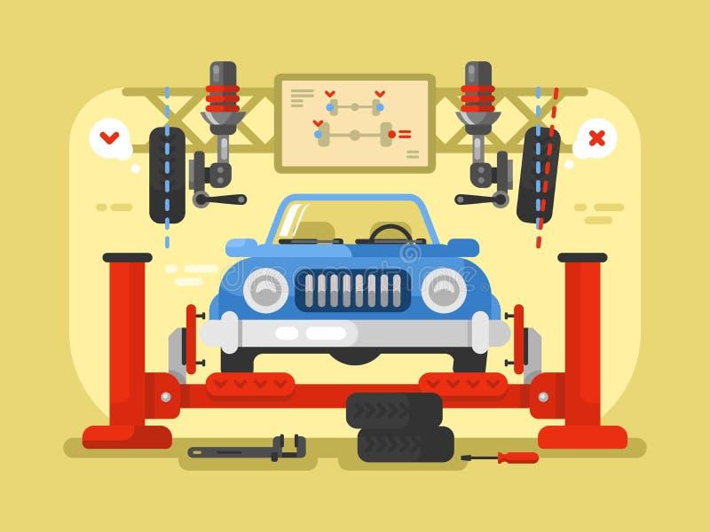 Suspendierungsautodesign flach lizenzfreie abbildung