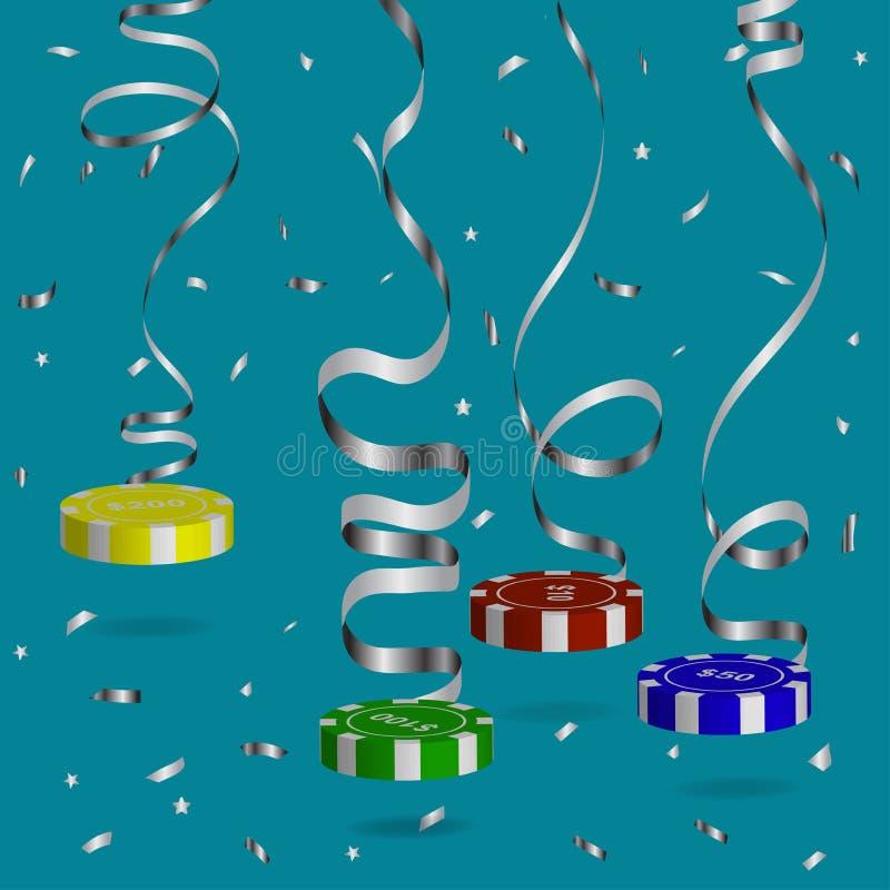 Suspendu sur les jetons de poker serpentins argentés de la valeur différente, confeti argenté volant Illustration de vecteur illustration de vecteur