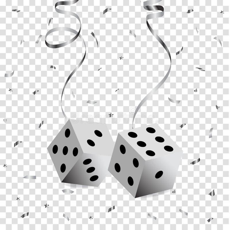 Suspendu sur une matrice serpentine argentée de tisonnier, confettis argentés volants sur un fond transparent illustration libre de droits