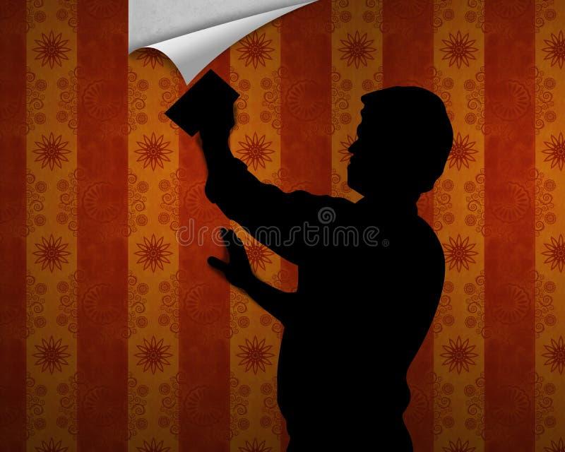 Suspensão acima do papel de parede ilustração do vetor