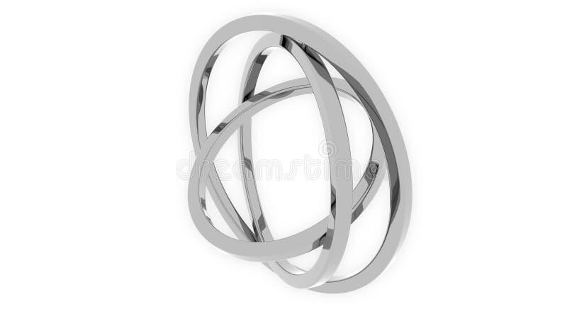 suspensão Cardan da Três-linha central feita dos anéis de prata Equilibre, precisão mecânica ou conceitos do movimento livre rend ilustração royalty free