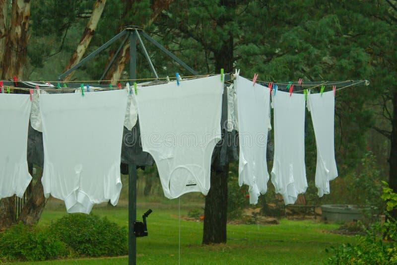 Suspensão de lavagem molhada na linha de roupa imagens de stock