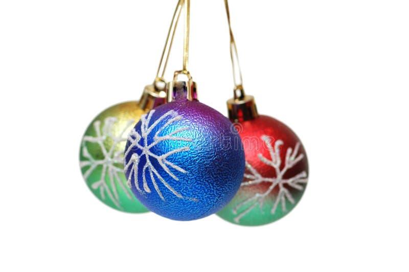Suspensão de três esferas do Natal   fotos de stock royalty free