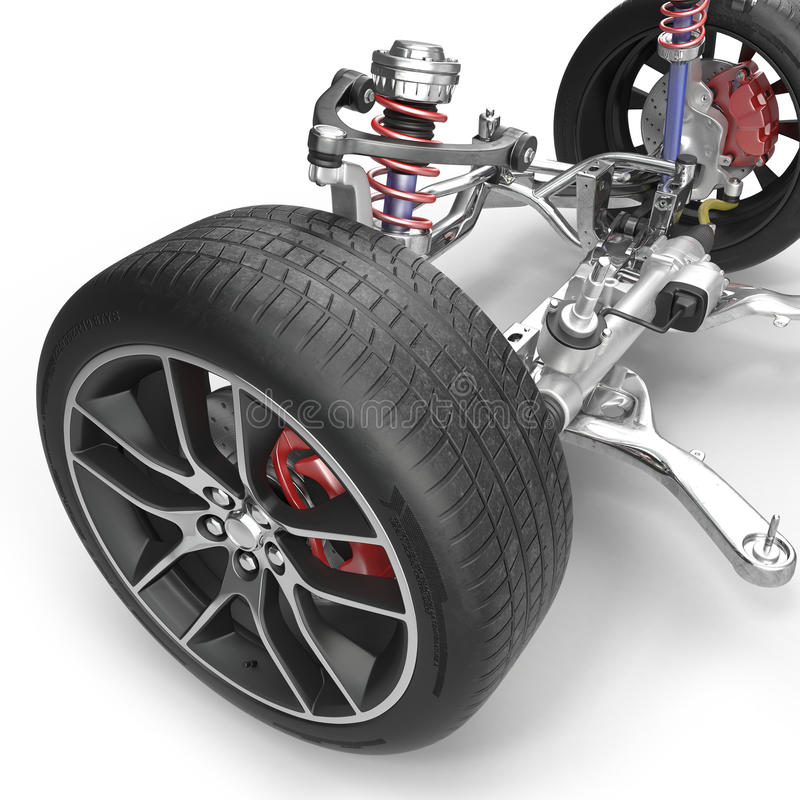 Suspensão dianteira com a roda do carro da movimentação Pneu novo No branco ilustração 3D ilustração stock