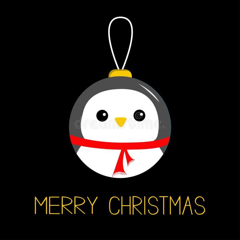 Suspensão do brinquedo da bola do Feliz Natal Cara da cabeça do pássaro do pinguim ilustração stock