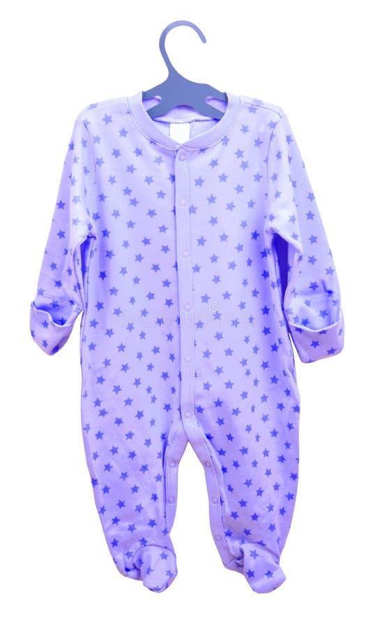Suspensão dos bens do bebê Pijama dos slideres do cosmonauta do corpo da roupa do ` s das crianças em um gancho isolado imagem de stock royalty free