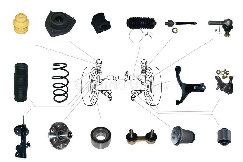 Suspensão e peças de direção fotografia de stock