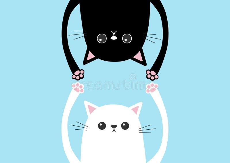 Suspensão engraçada preta da silhueta da cabeça do gato de cabeça para baixo Mãos brancas do gatinho acima Olhos, cópia da pata J ilustração stock