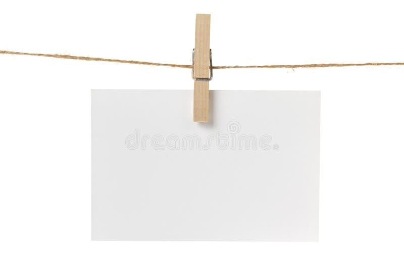 Suspensão vazia do cartão do Livro Branco imagem de stock royalty free