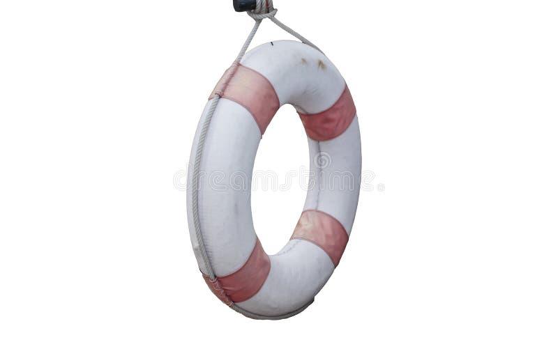 Suspensão velha do boia salva-vidas isolada nos fundos brancos Poupan?a de vida fotografia de stock