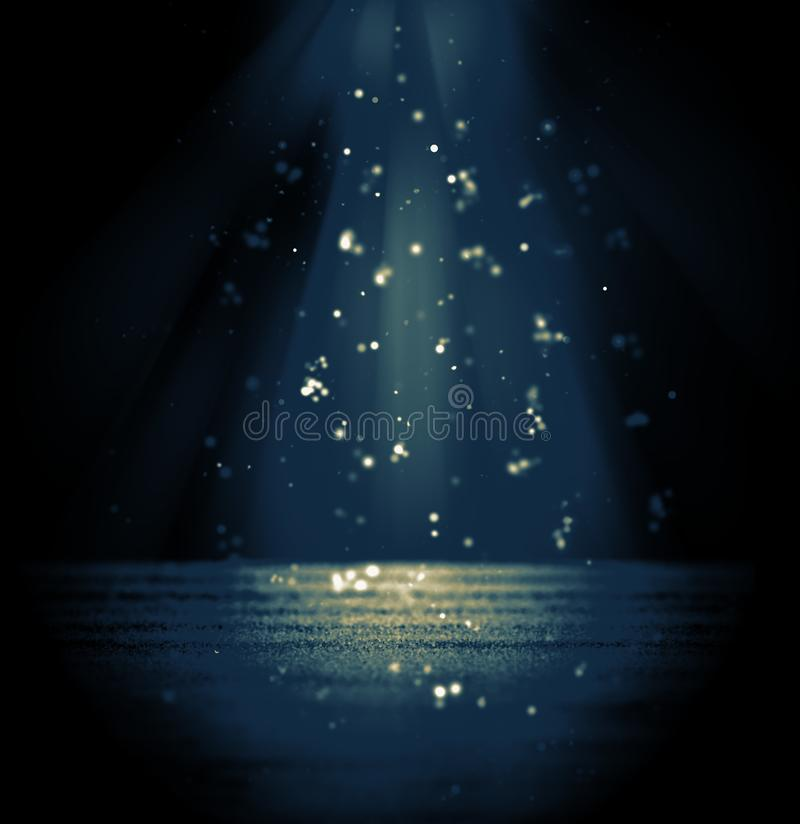 Suspense or drama background glitter and dust bokeh lights shine. Vintage toned blue and yellow royalty free illustration