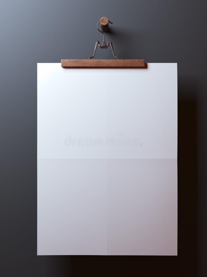 Suspensión con la hoja de papel doblada espacio en blanco stock de ilustración