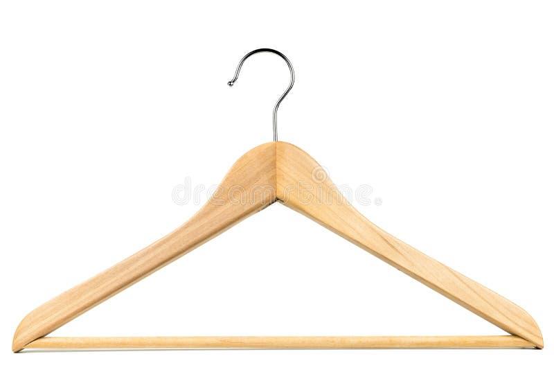 Suspensión de capa de madera/suspensión de ropa en un fondo blanco fotos de archivo libres de regalías