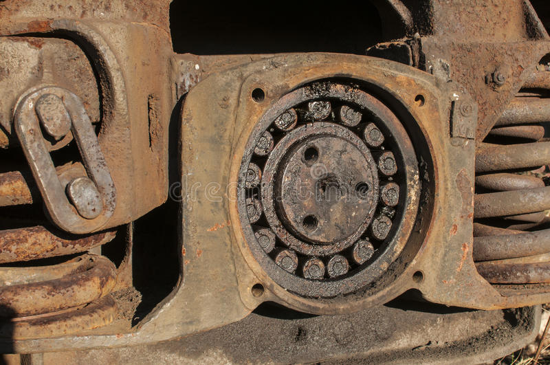 Suspensión de la rueda del carro ferroviario foto de archivo