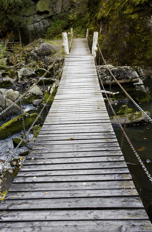 Suspension bridge. Crossing a river to forest stock image