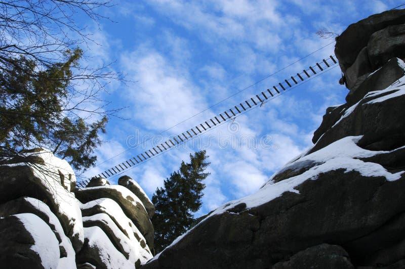 Suspension bridge. A shortcut - suspension bridge over a precipice stock photography