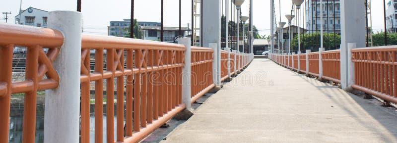 Suspension bridge above river wang Lampang, Thailand royalty free stock image