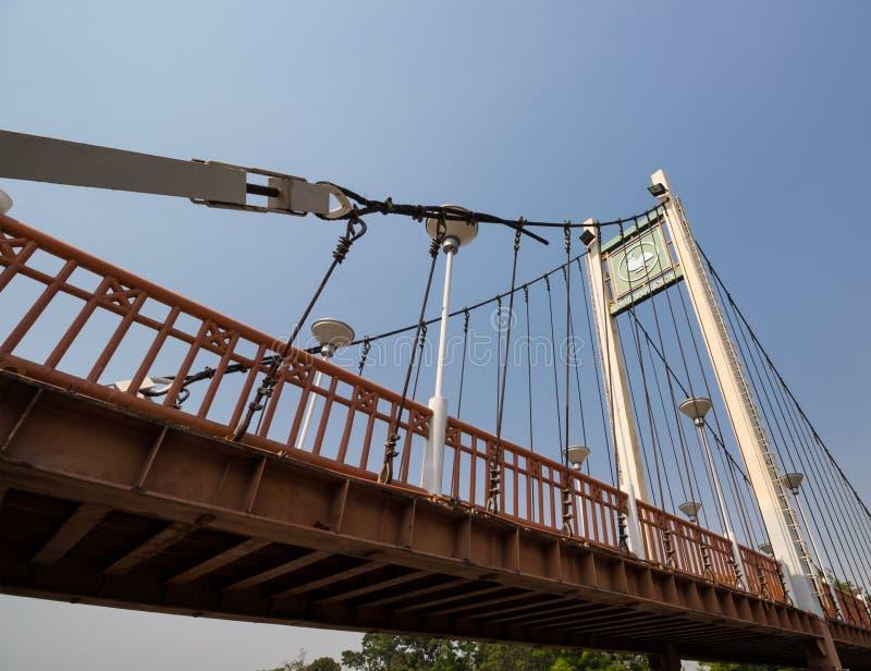 Suspension bridge above river wang Lampang, Thailand royalty free stock images