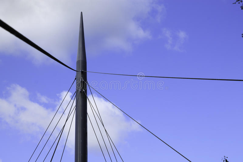 Suspension bridge cable and support details stock images