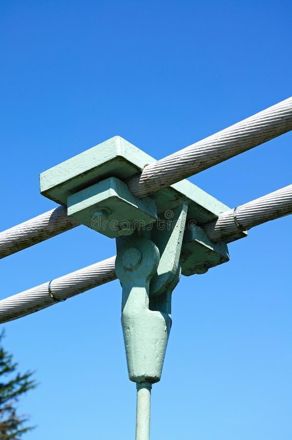 Suspension bridge cable support, Shrewsbury. stock photos