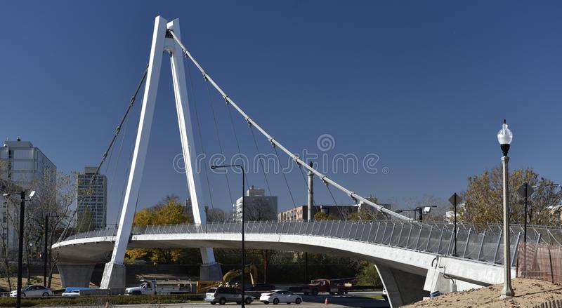 Suspension Bridge. This is a Fall picture of the 35th Street Bicycle and Pedestrian Bridge Over Lake Shore Drive and railroad tracks located in the Bronzeville stock photos