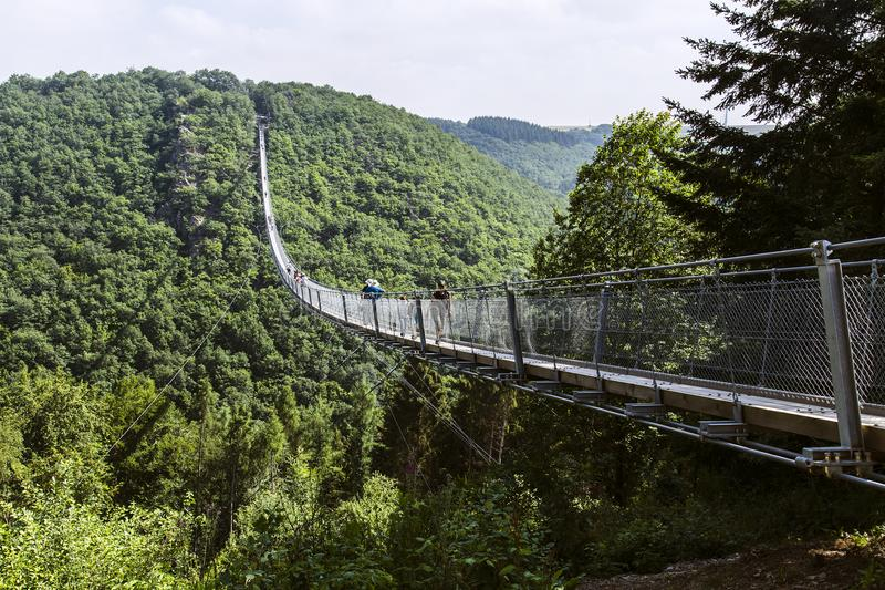 Suspension bridge Geierlay especially for hikers without fear of heights royalty free stock photography