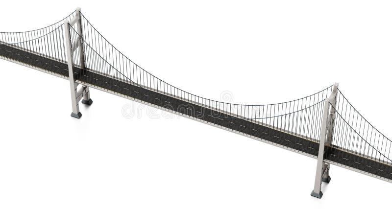 Suspension bridge isolated on white background. 3D illustration stock illustration