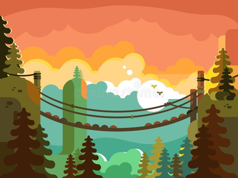 Suspension bridge in jungle design flat stock illustration