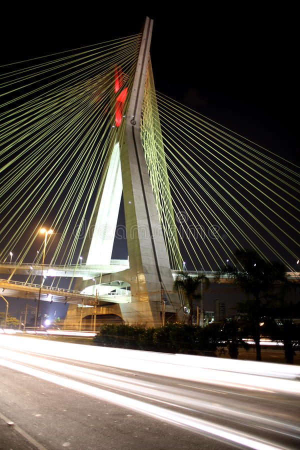 Suspension bridge lit on cables in sao paulo Brazil stock photo