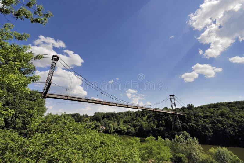 Suspension bridge over рекою the Teterev royalty free stock photo