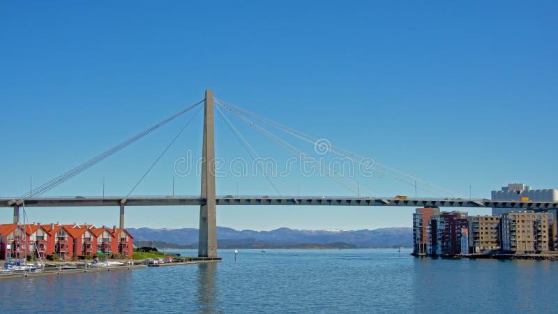 Suspension bridge over Lysefjord in Stavanger stock photo