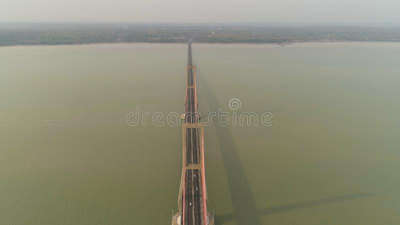 Suspension cable bridge in surabaya royalty free stock images