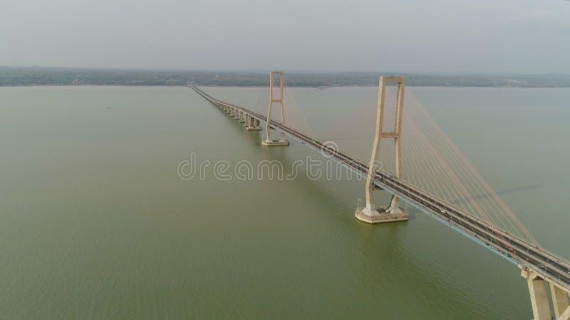 Suspension cable bridge in surabaya stock photos