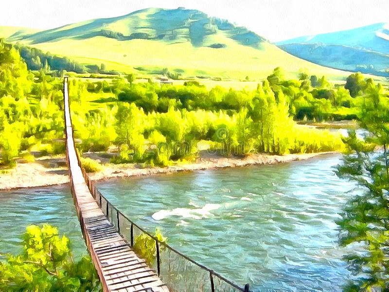 Suspension bridge over the river in the forest. View of the suspension bridge over the river. Bright colors of green forest - Acrylic painting stock photos