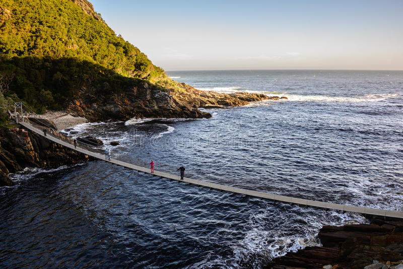Suspension Bridge over the Storms River Mouth, South Africa stock photography