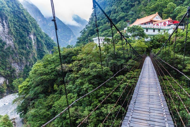 Bridge over gorge in taiwan royalty free stock image