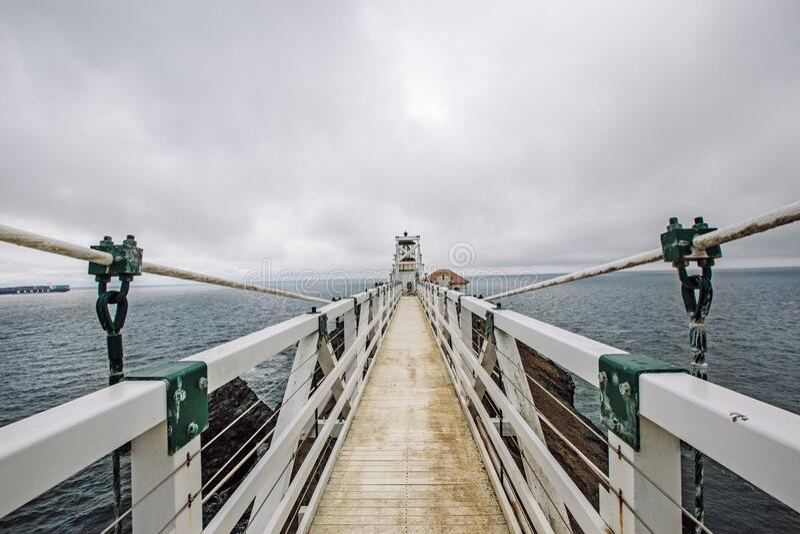 Suspension bridge for pedestrians royalty free stock photos