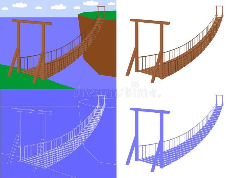 Suspension bridge in perspective view vector royalty free stock photos