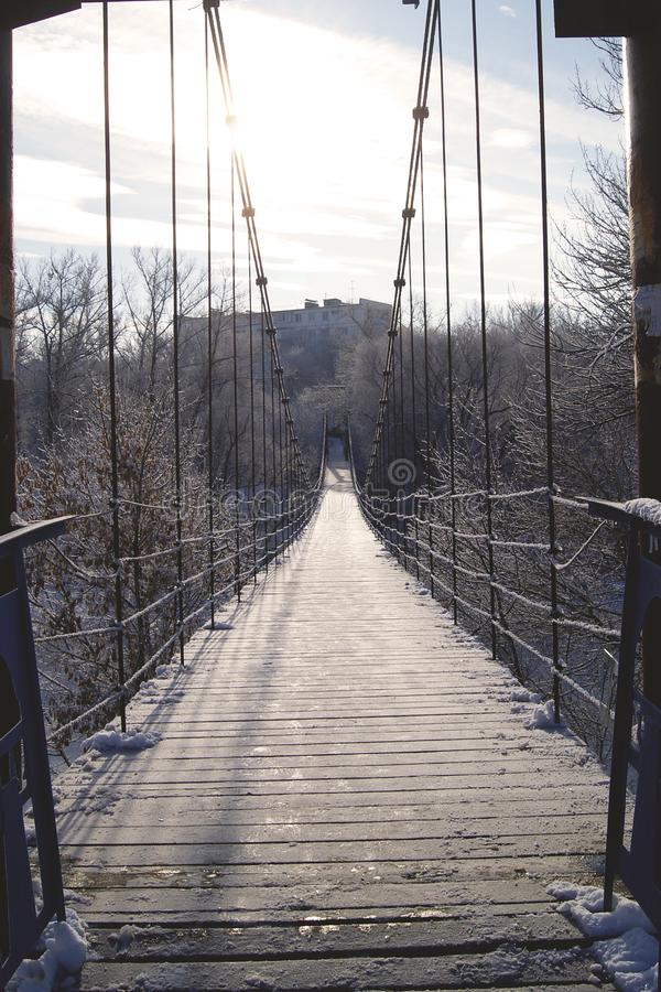 Suspension bridge in the Russian province. royalty free stock photos