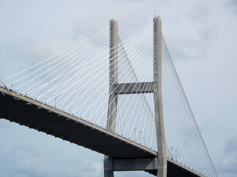 Suspension Bridge in Savannah, Ga. A section of the Savannah overhead suspension bridge named after Herman Talmadge senetor of Georgia royalty free stock photos
