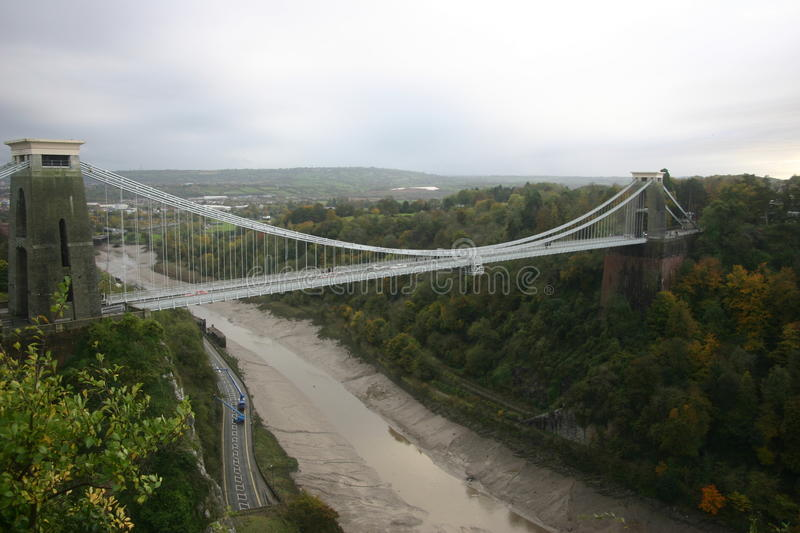 Clifton suspension bridge. In Bristol seen from slightly above with river beneath stock photo